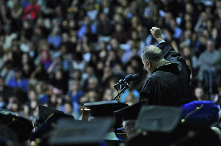 U.S. Senator Charles Schumer speaks at the  SEFCU Arena during the UAlbany Winter Commencement  on Sunday Dec. 4, 2011 in Albany, NY. (Philip Kamrass / Times Union ) Photo: Philip Kamrass / 00015597A