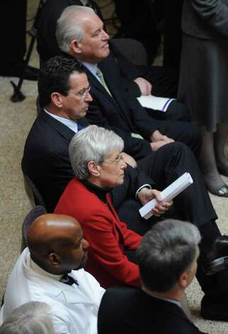 Lt. Gov. Nancy Wyman and Gov. Dan  Malloy at the UCONN Health Center in Farmington, Conn. on Tuesday May 17, 2011. Photo: Kathleen O'Rourke / Stamford Advocate