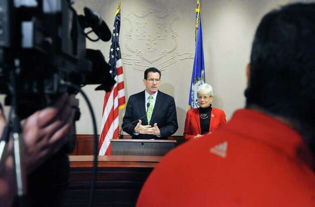 Gov. Dan Malloy conducts a press conference with Lt. Gov. Nancy Wyman to announce his budget revisions at the Legislative Office Building in Hartford, Conn. on Thursday April 14, 2011. Photo: Kathleen O'Rourke / Stamford Advocate