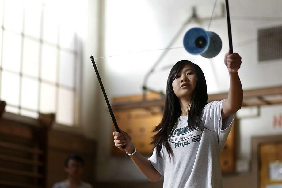 Francisco Middle School 8th grader Selena Diep practices here skills with a diablo, or chinese yo-yo, for physical education class at Francisco Middle School on Wednesday, November 30, 2011 in San Francisco, Calif. Photo: Beck Diefenbach, Special To The Chronicle