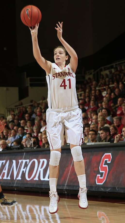 Stanford's Bonnie Samuelson makes a 3-point basket against UC Davis during the first half of an NCAA college basketball game in Stanford, Calif., Wednesday, Nov. 30, 2011. (AP Photo/Marcio Jose Sanchez)  Ran on: 12-01-2011 Freshman Bonnie Samuelson, who had been 0-for-6 from behind the arc, hit five three-pointers in Wednesday's win. Photo: Marcio Jose Sanchez, AP