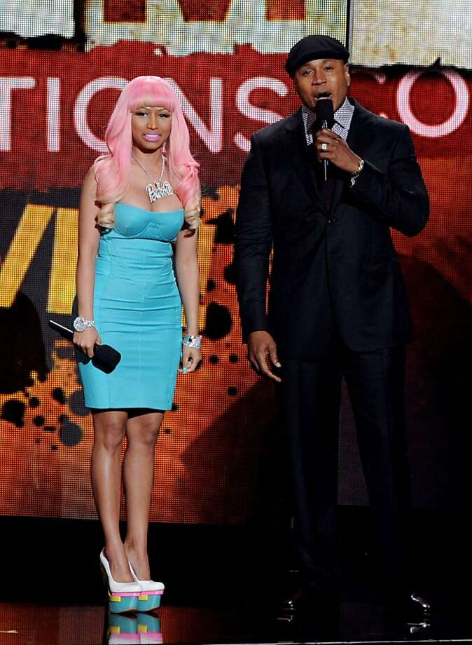 LOS ANGELES, CA - NOVEMBER 30:  Singers Nicki Minaj (L) and LL Cool J appear at the GRAMMY Nominations Concert Live at the Nokia Theater on November 30, 2011 in Los Angeles, California.  (Photo by Kevin Winter/Getty Images) Photo: Kevin Winter, Getty Images