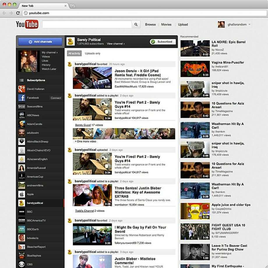 An undated screenshot of the redesigned YouTube web site. Photo: Google