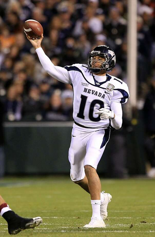 SAN FRANCISCO, CA - JANUARY 09:  Colin Kaepernick #10 of the Nevada Wolf Pack throws the ball against Boston College during the Kraft Fight Hunger Bowl at AT&T Park on January 9, 2011 in San Francisco, California.  (Photo by Ezra Shaw/Getty Images)  Ran on: 04-30-2011 Colin Kaepernick will probably get time to watch and adjust to a pro-set offense  --  in this case, the West Coast style employed by new 49ers head coach Jim Harbaugh. Ran on: 04-30-2011 Colin Kaepernick will probably get time to watch and adjust to a pro-set offense  --  in this case, the West Coast style employed by new 49ers head coach Jim Harbaugh. Ran on: 04-30-2011 Colin Kaepernick will probably get time to watch and adjust to a pro-set offense  --  in this case, the West Coast style employed by new 49ers head coach Jim Harbaugh. Photo: Ezra Shaw, Getty Images