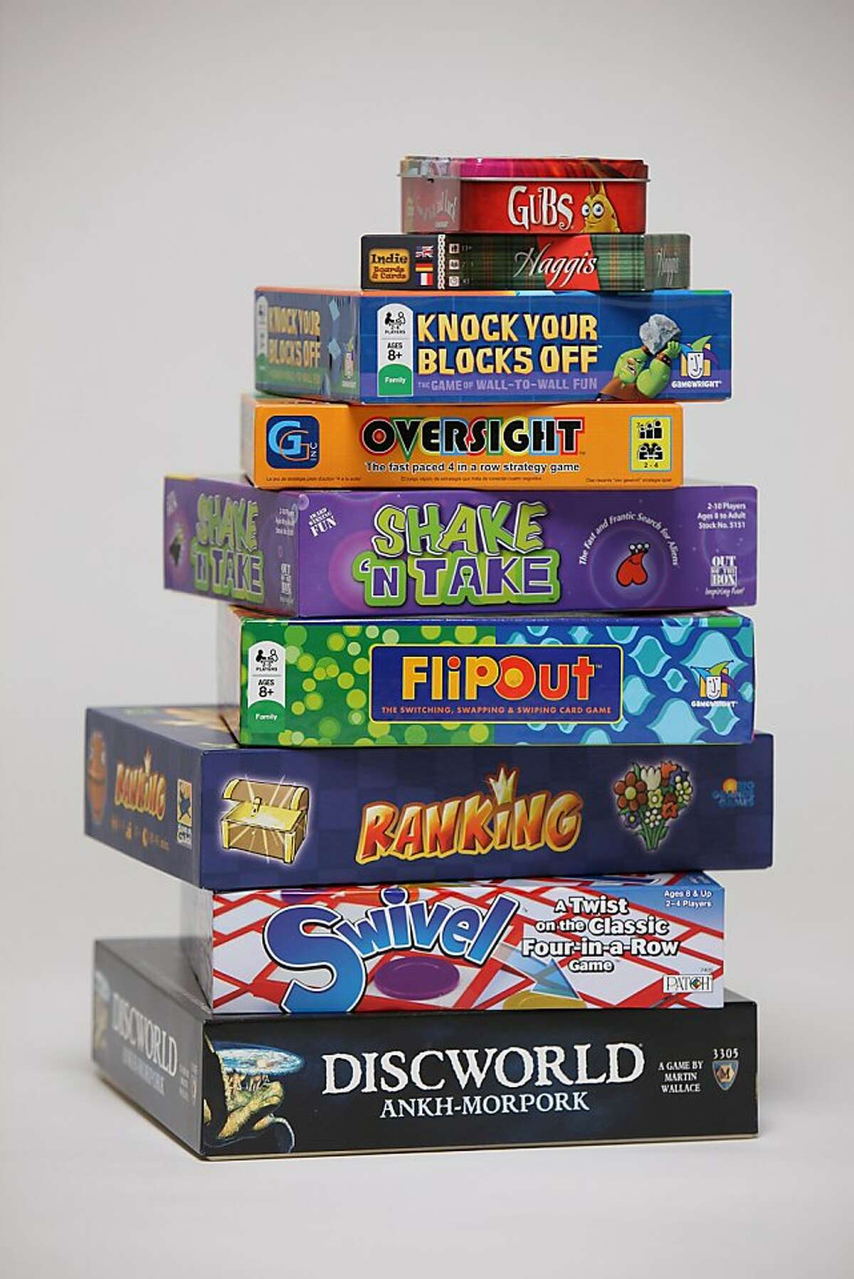 For the annual board game consumer guide, the game boxes and/or pieces photographed in San Francisco, Calif., on Wednesday, November 23, 2011.