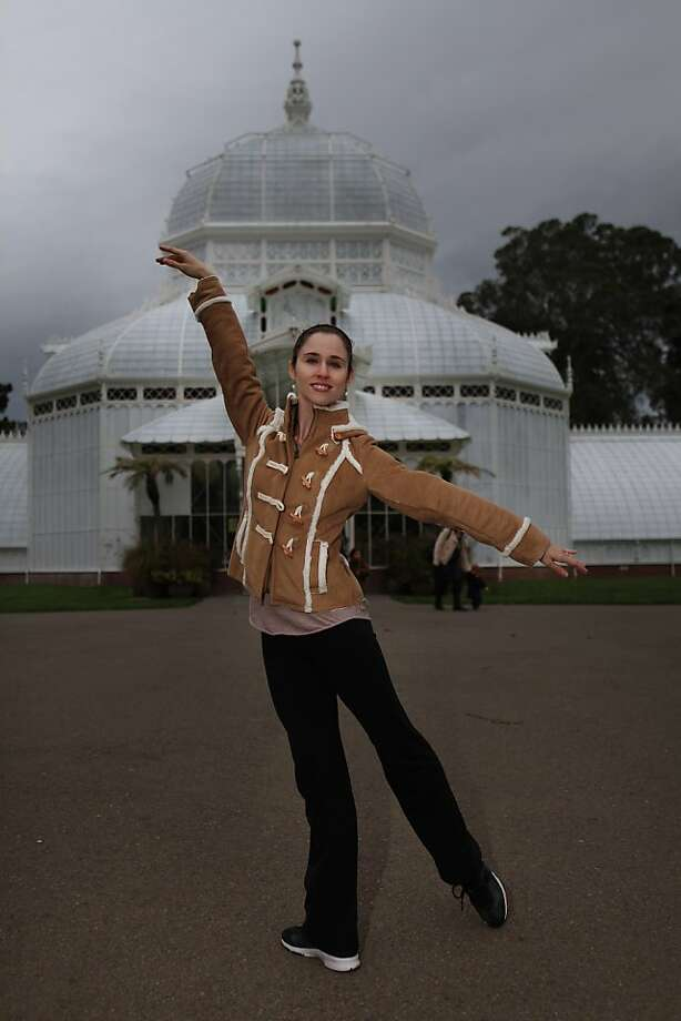"""Courtney Elizabeth, San Francisco Ballet dancer is seen at the Conservatory of Flowers on Wednesday, November 23, 2011 in San Francisco, Calif.  The San Francisco Ballet """"Nutcracker"""" is set in San Francisco and the Conservatory of Flowers is evoked in one of the scenes. Elizabeth provides an online tour of the Conservatory of Flowers in the Nutcracker """"Guide to Our City"""". Photo: Lea Suzuki, The Chronicle"""