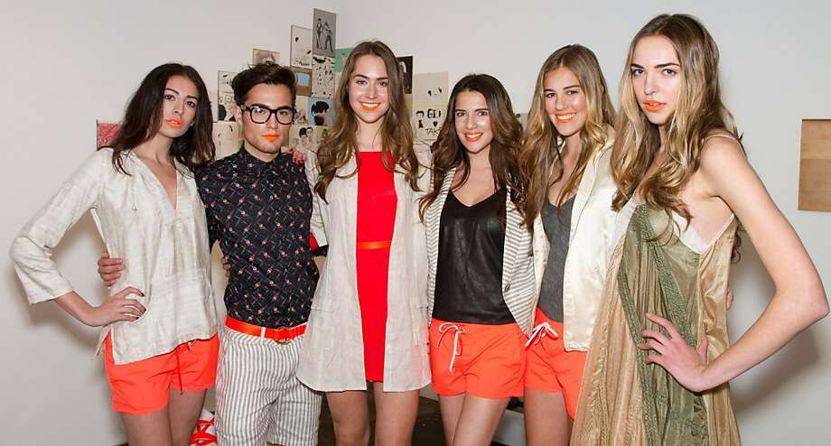 The models backstage at Turk + Taylor's show. Left to right, Erika Soto (Ford), Clifton Sienega, Annabelle Bostedt (Ford), Teresa Sinclaise (Ford), Lauren Sinatra (Ford) and Kristina Brockmann (Ford). Photo: Erik Converse