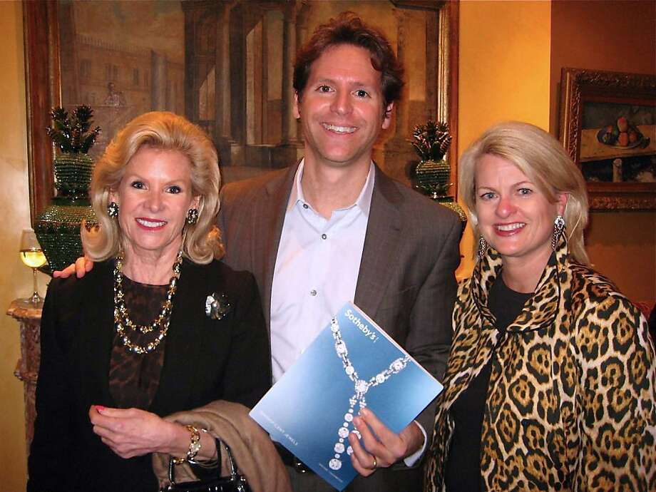 Dede Wilsey (at left) with her son, Trevor Traina and Adrianna Pope Sullivan at the Sotheby's Magnificent Jewels auction preview. Nov. 2011. By Catherine Bigelow. Photo: Catherine Bigelow, Special To The Chronicle