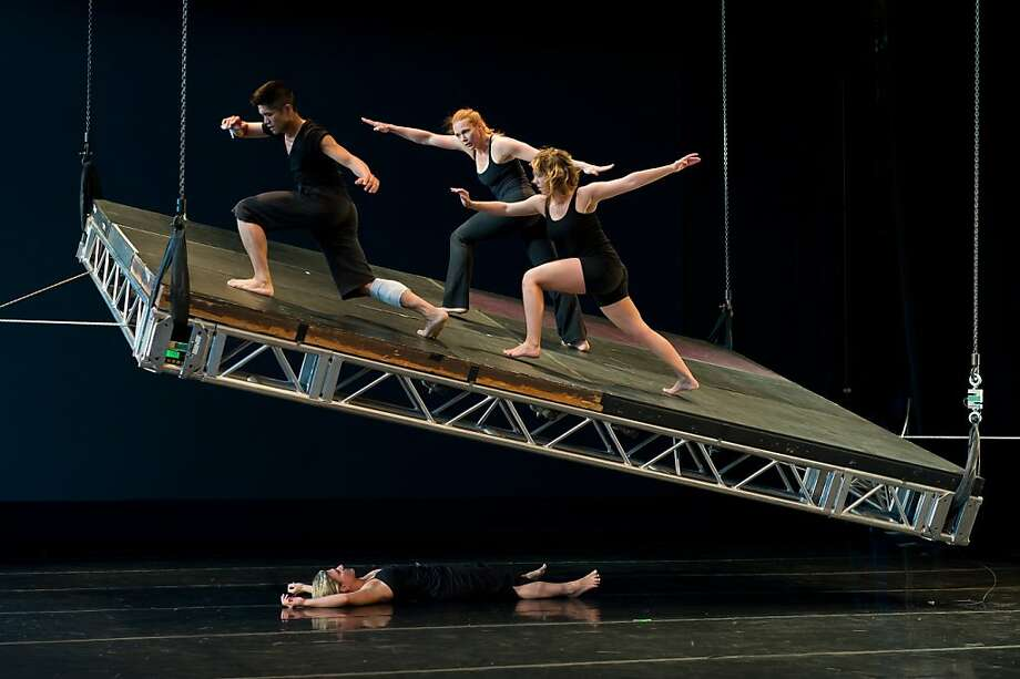 IMAGE #1 (three up and one under) Printz Dance Project's HOVER SPACE with Dudley Flores, Sharon Gallagher, Deborah Saputo and Stacey Printz.   Photo by Jeff Zender Photo: Jeff Zender