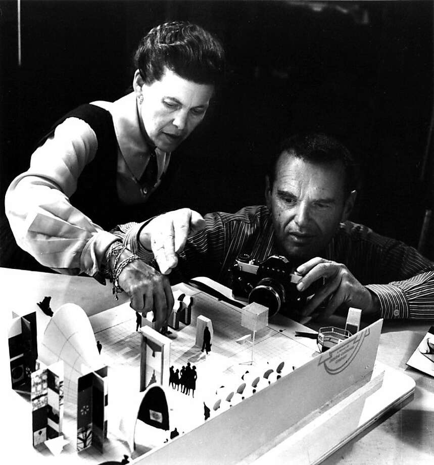 Ray and Charles Eames photographing an early model of the exhibition ÒMathematica: A World of NumbersÉ and BeyondÓ, 1960, as seen in Jason Cohn and Bill JerseyÕs documentary EAMES: The Architect and the Painter. Photo: First Run Features
