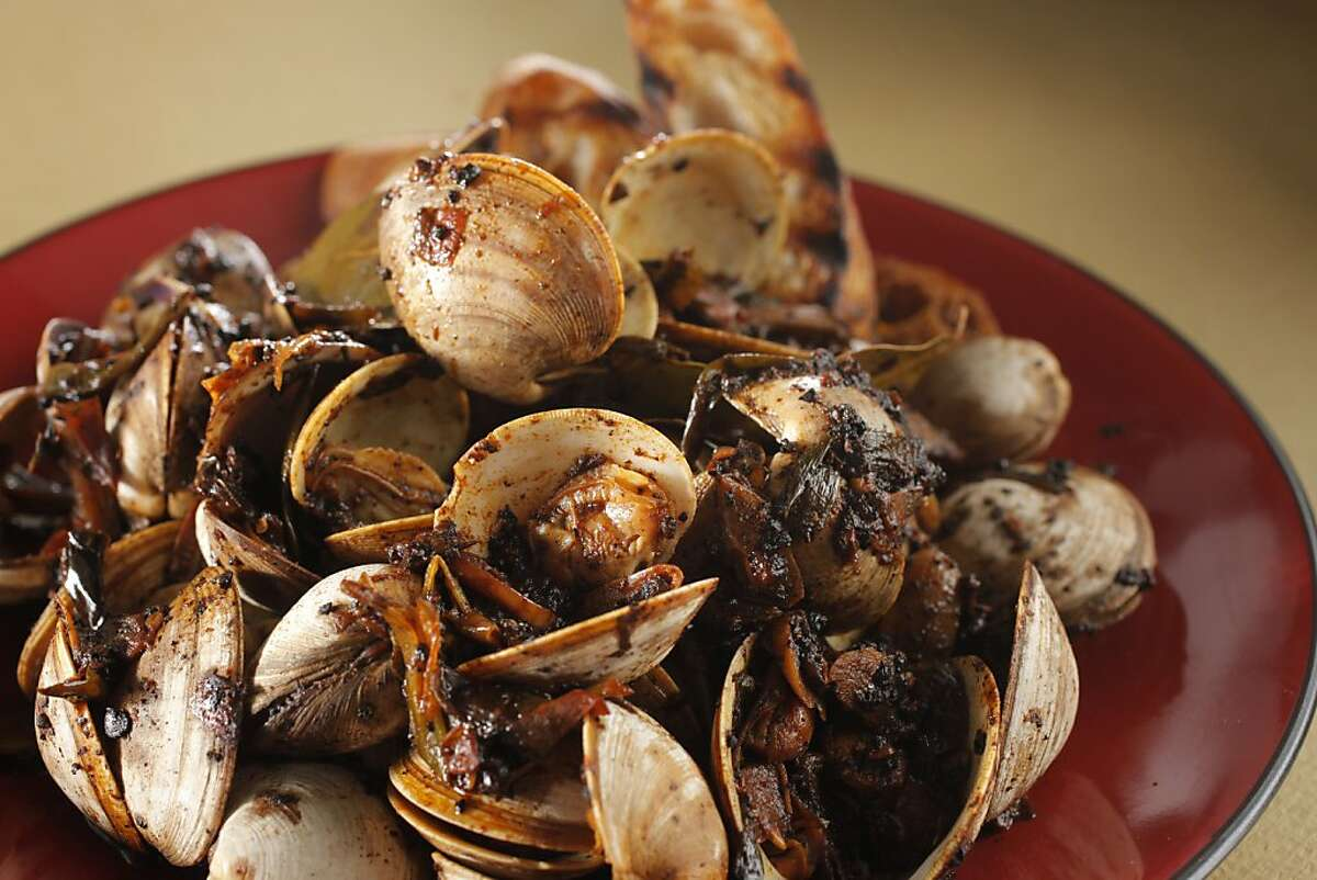 Clams with Chiles, Saffron and Tomato Sauce from the book,