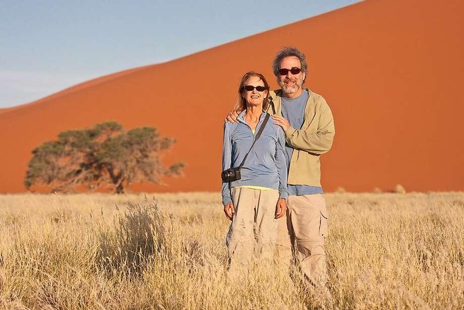 Jane Borchers and Steve Zamek in  Namibian Desert near Sossusvlei, Namibia Photo: Jane Borchers And Steve Zamek