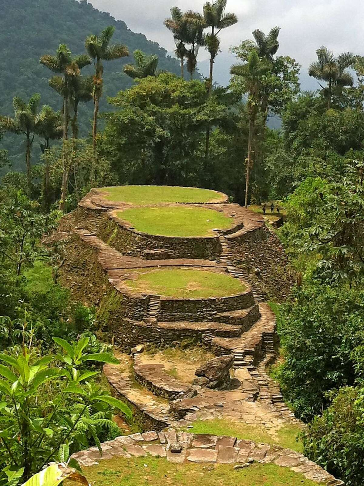 The rocky terraces of Ciudad Perdida rise from mountaintop jungles.