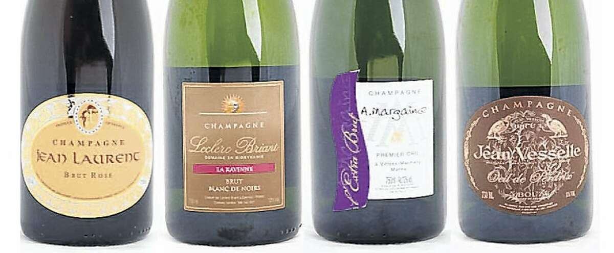 A mixed case: 9 Champagnes from the little guys (continued): NV Jean Laurent Brut Rosé, NV Leclerc Briant La Ravinne Blanc de Noirs Brut, NV A. Margaine Extra Brut, NV Jean Vesselle Oeil de Perdrix Brut