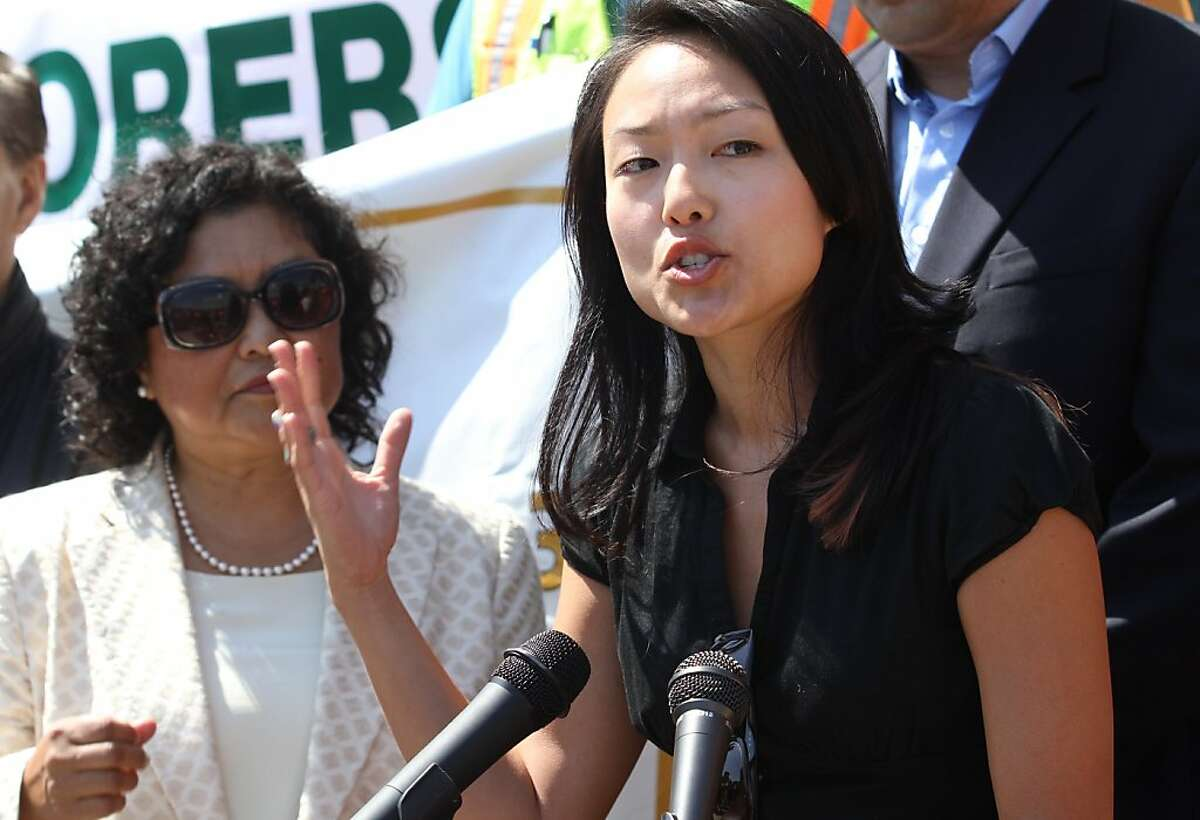 Supervisor Jane Kim speaks at a rally in support of the Central Subway project at City Hall on Friday, Sept. 9, 2011.