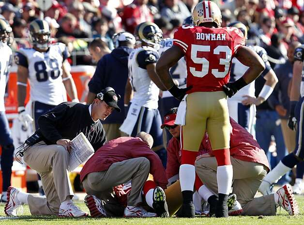 San Francisco 49ers  head coach Jim Harbaugh check on Patrick Willis after he tackled St. Louis Rams Brit Miller in the first quarter,  Sunday Dec. 4, 2011, 26-0, at Candlestick Park in San Francisco, Calif. Willis was hurt in the play with a hamstring inquiry and this out the rest of the game. Photo: Lacy Atkins, The Chronicle