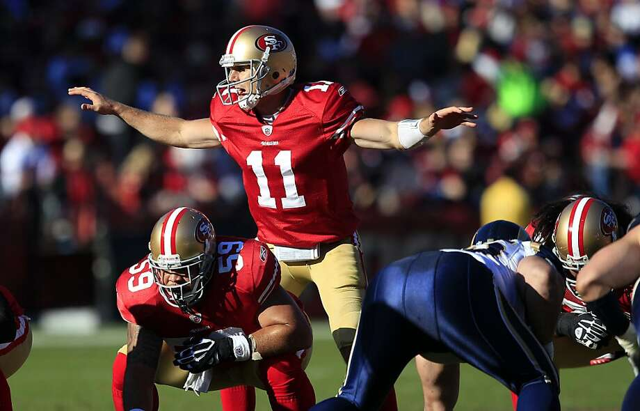 San Francisco 49ers quarterback Alex Smith (11) signals at the line of scrimmage against the St. Louis Rams during the second quarter of an NFL football game in San Francisco, Sunday, Dec. 4, 2011. Photo: Marcio Jose Sanchez, AP