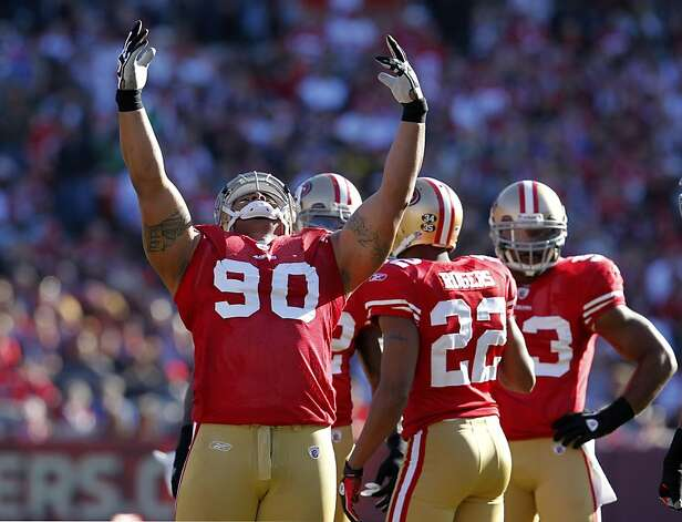 San Francisco 49ers  defensive tackle, Isaac Sopoaga celebrates as the 49ers defeat the St. Louis Rams, Sunday Dec. 4, 2011, 26-0, at Candlestick Park in San Francisco, Calif. Photo: Lacy Atkins, The Chronicle