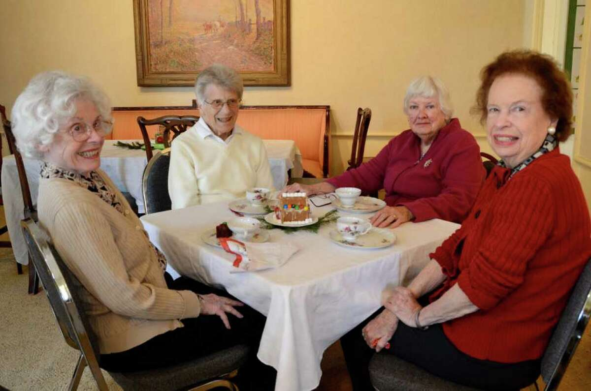 Tea party time for Lorinne Stair, Maisie Kohnstamm, Mal O'Rourke and Meryl Vallar at the Historical Society Open House Saturday.