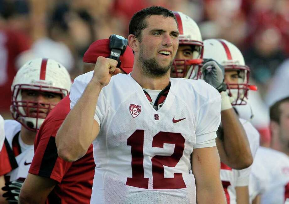 Stanford quarterback Andrew Luck (12) reacts near the end of Stanford's 44-14 win over Duke in an NCAA college football game in Durham, N.C., Saturday, Sept. 10, 2011. Photo: AP