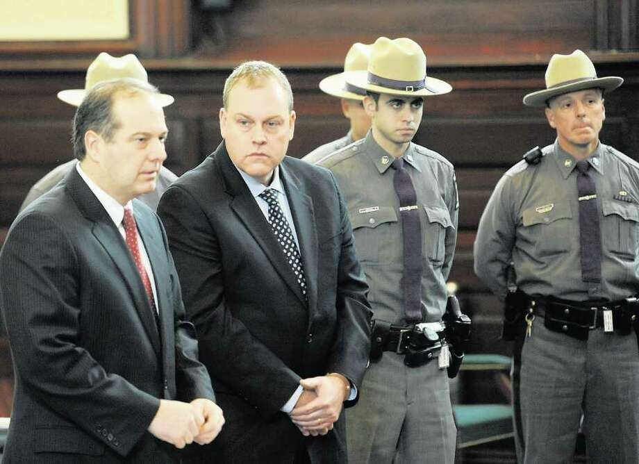 Edward McDonough Jr. appears in front of Judge George Pulver and is represented by attorney Brian Premo in the Rensselaer County Courthouse in Troy in January 2011 to face charges of ballot fraud. (Skip Dickstein / Times Union archive) Photo: SKIP DICKSTEIN / 2008
