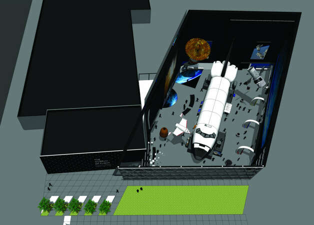 A depiction of the Seattle Museum of Flight's Space Gallery with exhibits, including the space shuttle full-fuselage trainer. / The Museum Of Flight
