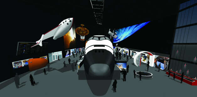 A depiction of the Seattle Museum of Flight's Space Gallery with exhibits, including the space shuttle full-fuselage trainer. Photo: The Museum Of Flight