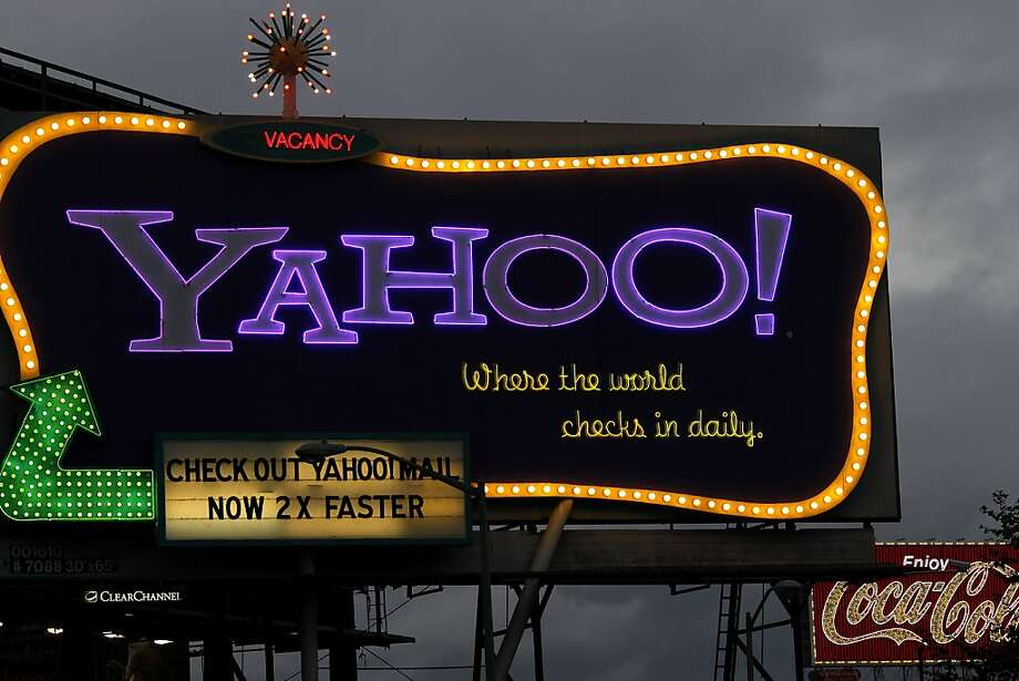 The large Yahoo billboard just off highway 80 near Sixth Street will be dismantled soon in San Francisco, Calif. Photo: Brant Ward, The Chronicle