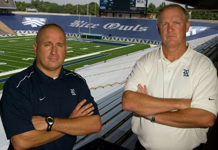 Rice University football Co-defensive coordinators Craig Naivar (left) and Chuck Driesbach (right) photographed at Rice Stadium Friday, Aug. 1, 2008, in Houston.  ( James Nielsen / Chronicle ) Photo: James Nielsen / Houston Chronicle