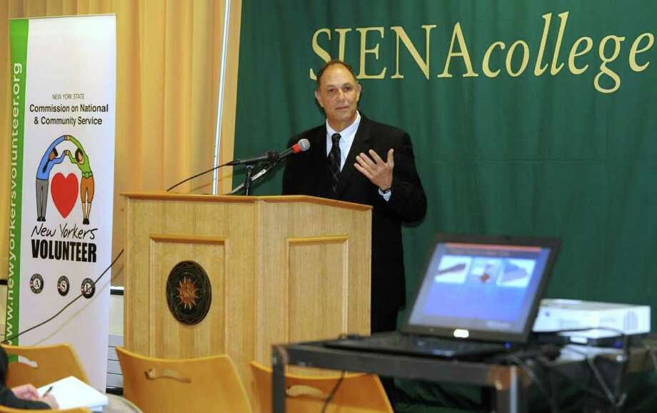 Dr. Don Levy, Siena College Research Institute director, speaks during a press conference at Siena on Dec. 5, 2011 in Loudonville, N.Y. The press conference discussed information regarding the release the 2011 New York Civic Health Index Report. (Lori Van Buren / Times Union) Photo: Lori Van Buren