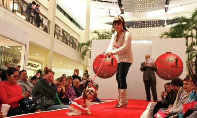 "Ginger Lopez and her dog ""Coco"" take part in the Struttin' Pets Holiday Event Christmas Couture Contest presented by North Star Mall with the San Antonio Humane Society Monday Dec. 5, 2011. ""Coco"" placed third and won a $100 gift card and a gift bag. The St. Nick pet pictures with Santa will be held Monday Dec. 12 from 6-9 p.m. at the mall. Costumes will be provided. Visti sahumane.org for more information. Photo: EDWARD A. ORNELAS, SAN ANTONIO EXPRESS-NEWS / © SAN ANTONIO EXPRESS-NEWS (NFS)"