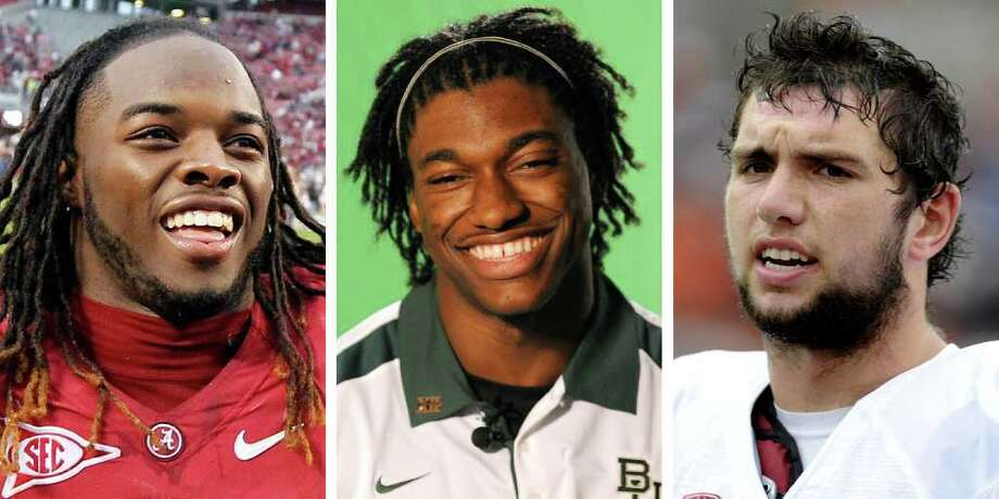FILE - These are 2011 file photos showing Trent Richardson, Alabama; Robert Griffin III, Baylor; and Andrew Luck, Stanford. Richardson, Griffin and Luck are among the players expected to receive invites to the Heisman Trophy presentation when the finalists are announced. (AP Photo/File)