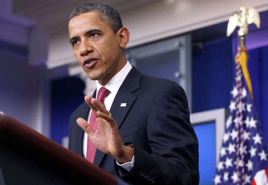 President Barack Obama makes a statement to reporters in the James Brady Press Briefing Room at the White House in Washington, Monday, Dec. 5, 2011, urging Republican lawmakers to pass the payroll tax cut. (AP Photo/Charles Dharapak) Photo: Charles Dharapak