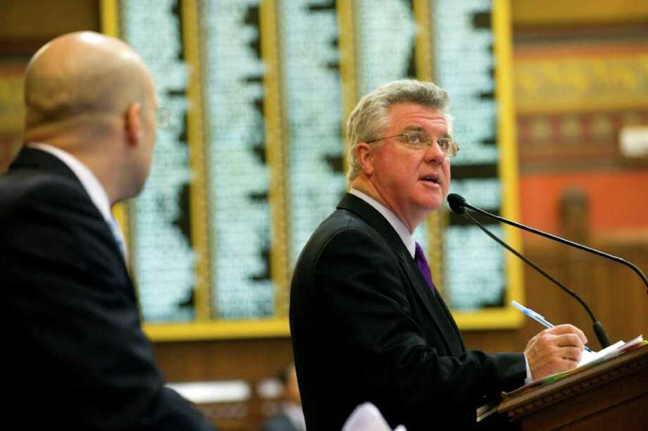 Democratic Speaker of the House Christopher Donovan, in the House chamber on the last day of the regular legislative session on June 8, 2011. Donovan, a defender of social programs defended the interests of organized labor in budget talks. Photo: Kathleen O'Rourke / Stamford Advocate