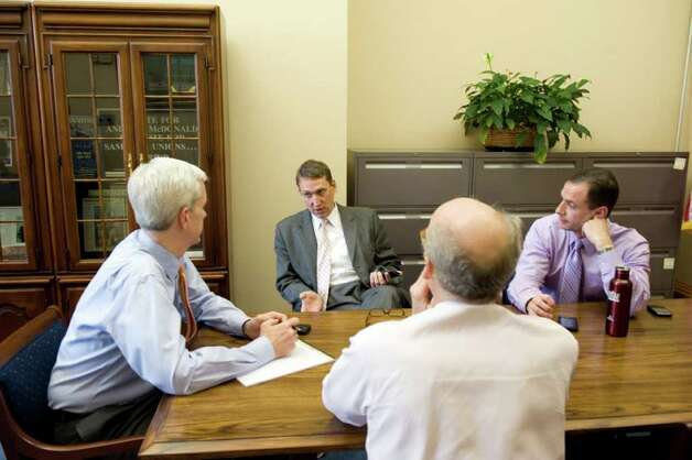 FILE — Andrew McDonald, Ben Barnes, Tim Bannon and Roy Occhiogrosso gather in McDonald's office at the state Capitol in Hartford, Conn. on Thursday May 19, 2011. Photo: Kathleen O'Rourke / Stamford Advocate