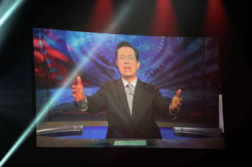 LAS VEGAS, NV - DECEMBER 05: TV Personality Stephen Colbert via satellite at the American Country Awards 2011 at the MGM Grand Garden Arena on December 5, 2011 in Las Vegas, Nevada. (Photo by Ethan Miller/Getty Images)