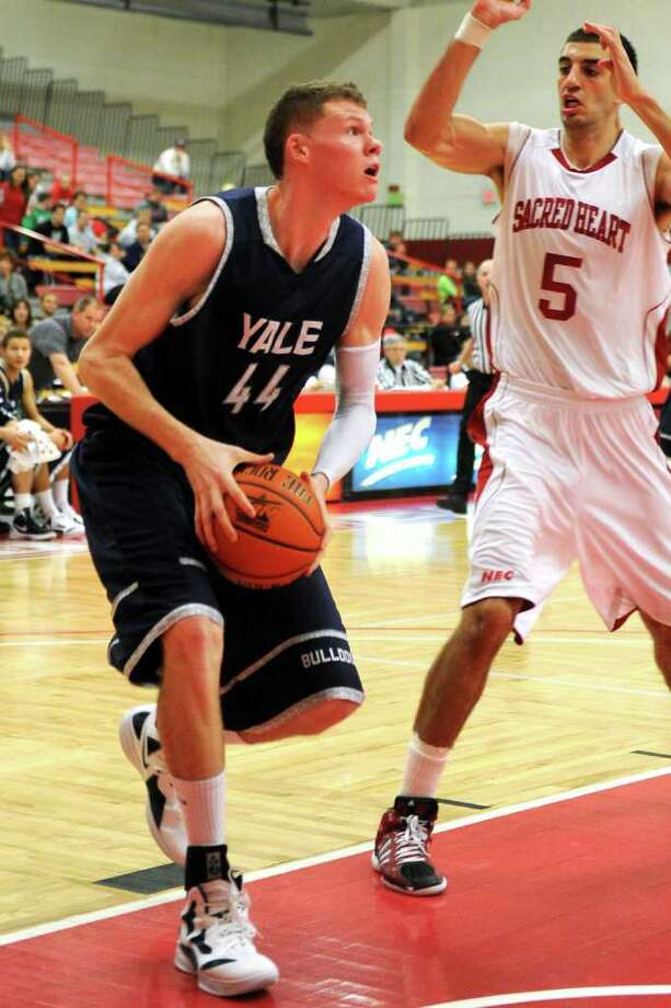 Yale's Greg Mangano during basketball action against Sacred Heart, at Sacred Heart University, in Fairfield, Conn. Dec. 5th, 2011. Yale defeated SHU 73-71. Photo: Ned Gerard / Connecticut Post