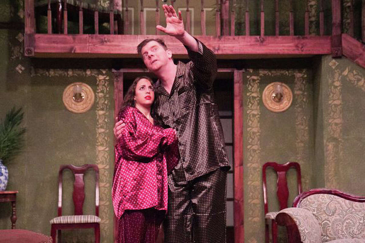 Gloria Antonios, as the love-struck Daphne, is shown here with Jonathan Jacobson in a scene from