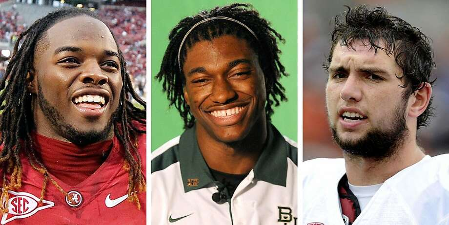 FILE - These are 2011 file photos showing Trent Richardson, Alabama; Robert Griffin III, Baylor; and Andrew Luck, Stanford. Richardson, Griffin and Luck are among the players expected to receive invites to the Heisman Trophy presentation when the finalists are announced. (AP Photo/File)   Ran on: 12-06-2011 Baylor's Robert Griffin III tops the nation in passer rating. Ran on: 12-06-2011 Stanford's Andrew Luck  --  favored status in question. Ran on: 12-06-2011 Alabama's Trent Richardson is fifth in the nation in rushing. Photo: AP
