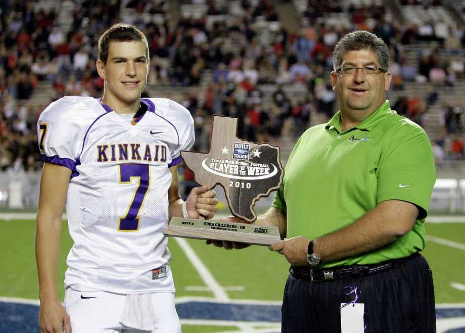 Ford Childress  threw for 3,588 yards and 47 touchdowns with five interceptions as a senior, leading Kinkaid to two SPC championships. Photo: Bob Levey / Freelance
