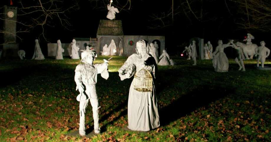 SPECTRUM/The Elsesser family's expansive Neapolitan creche figures have been a traditionally popular feature during the holidays in Gaylordsville for many years. They may be seen with special lighting evenings along Gaylord Road. Dec. 2, 2011 Photo: Trish Haldin