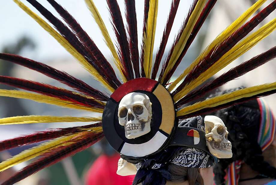 The headdress from one Azrtec dancer. A celebration was held at Glen Cove Park in Vallejo, Calif Saturday July 30, 2011 by a group of determined Native Americans and their supporters who stopped the city of Vallejo from disturbing a sacred burial ground. Photo: Brant Ward, The Chronicle