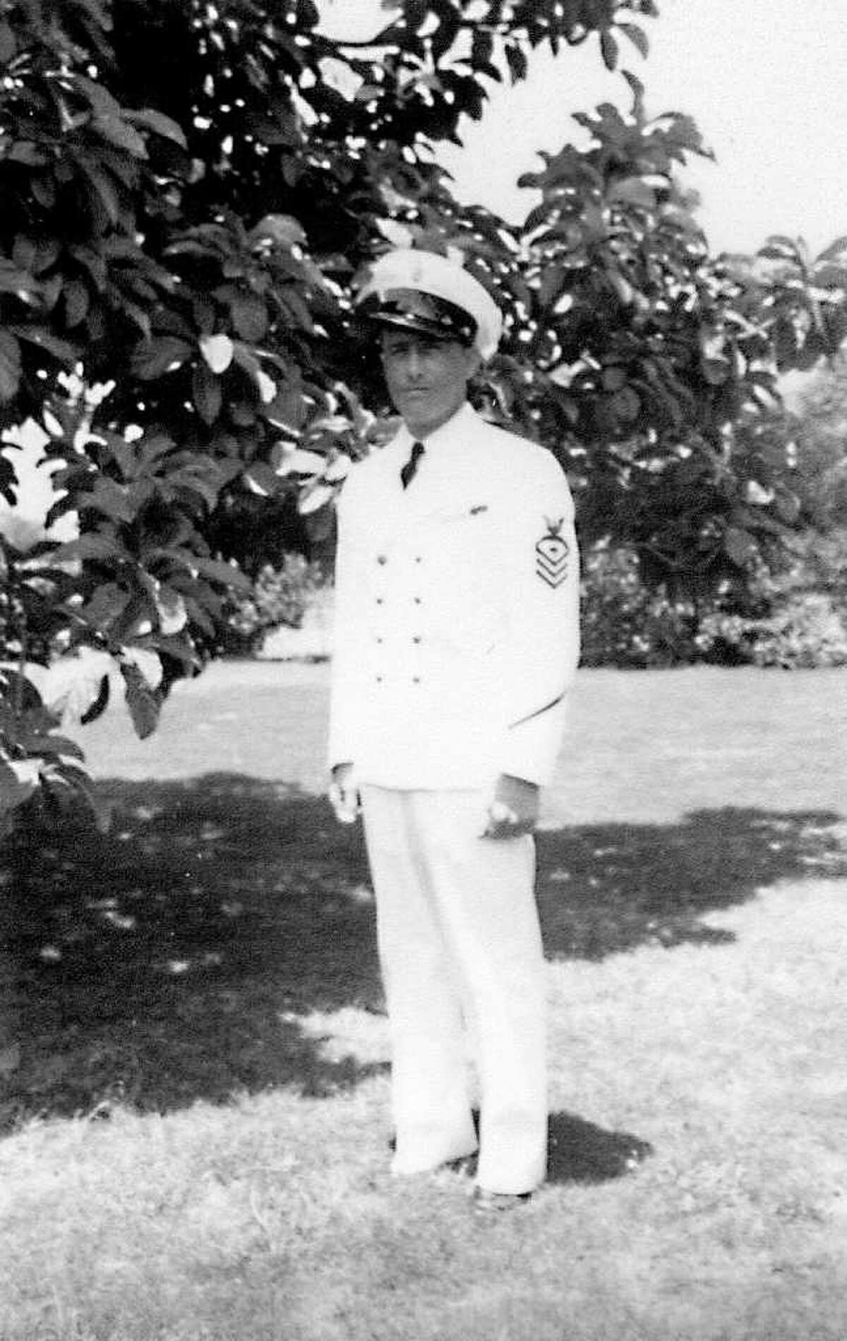 In this undated photo provided by Pacific Historic Parks, Pearl Harbor survivor Lee Soucy is shown. In accordance with his wishes, Soucy's ashes are being interred on the USS Utah, his ship that sank during the attack and is still sitting in Pearl Harbor.