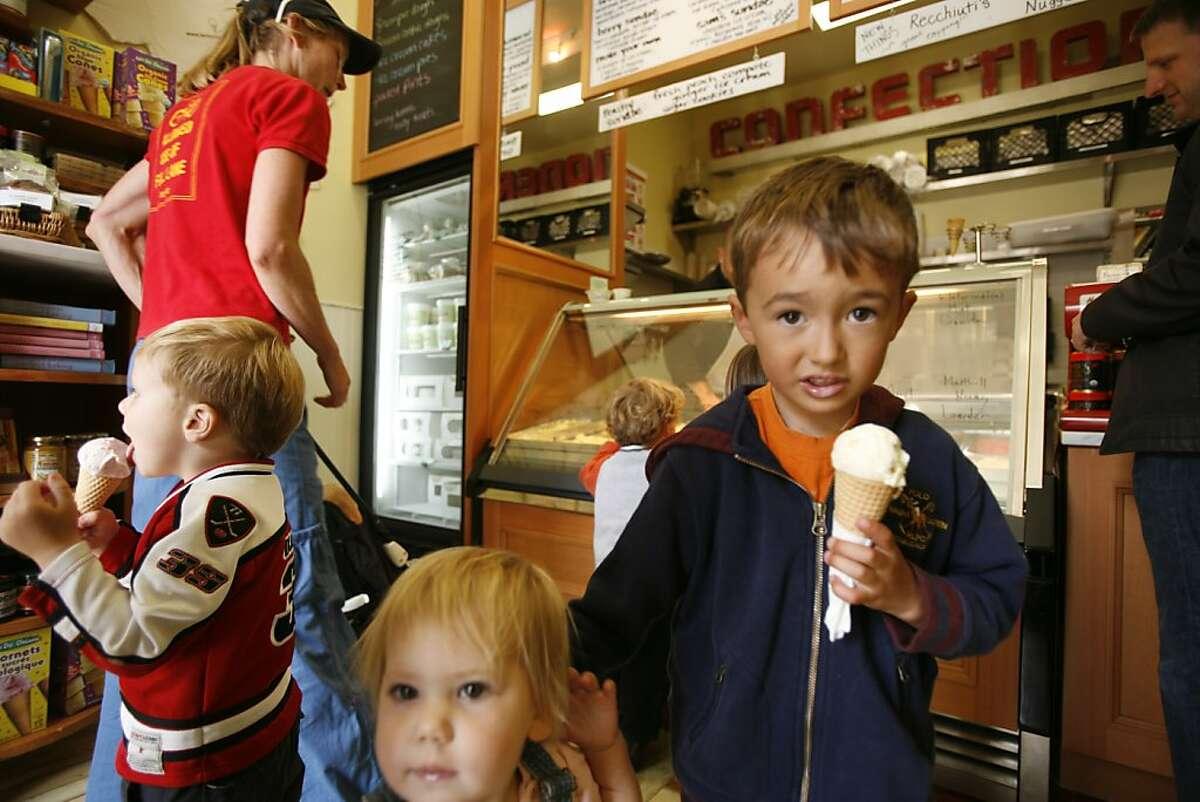 Children from Kinderhaus, a German language preschool in the neighborhood enjoy their ice cream at Bi-Rite Creamery on 18th Street.