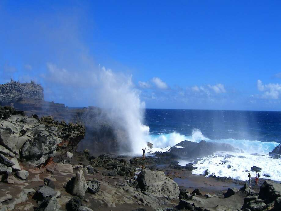 Reader Todd Binder submitted this 2007 photo of an unidentified man standing with his back to the ocean by the Maui blowhole where a visitor recently lost his life. Photo: Todd Binder