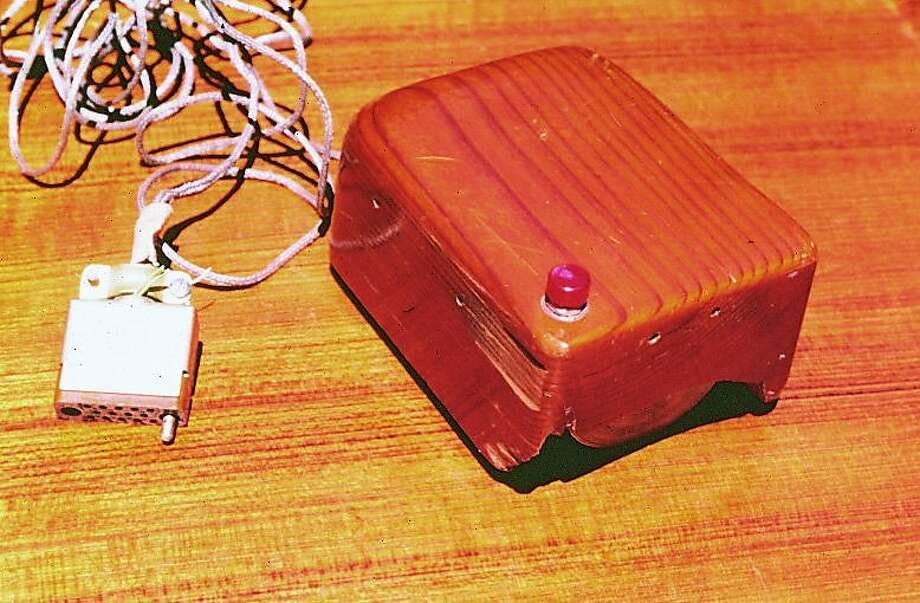 The first mouse prototype developed by Doug Engelbart of the Stanford Research Institute. Photo courtesy of Stanford Research Institute