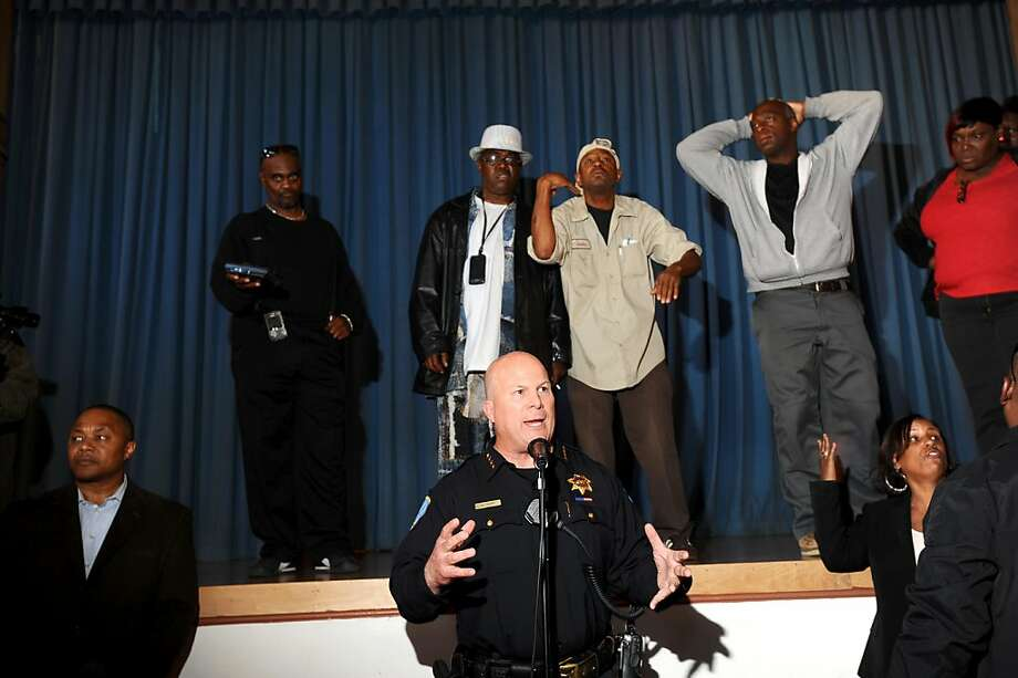 San Francisco Police Chief Greg Suhr addresses Bayview residents upset about the police shooting of Kenneth Wade Harding on Wednesday, July 20, 2011, in San Francisco. About 300 people gathered for the meeting which ended early following outbursts from some attendees. Photo: Noah Berger, Special To The Chronicle