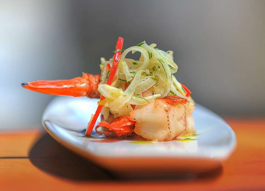 """Pancetta-wrapped shrimp with pickled slaw are one of the """"small bites"""" served at Montrio Bistro in Monterey. Photo: Montrio Bistro"""