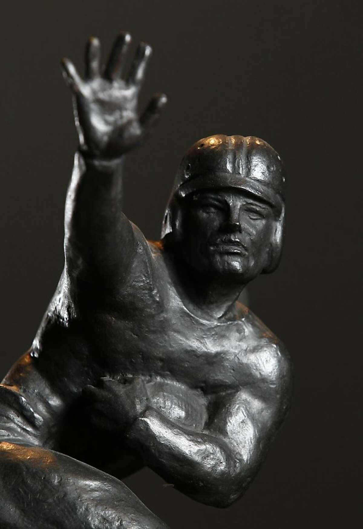 Jim Plunkett's Heisman trophy Monday, December 5, 2011 in Atherton, Calif.