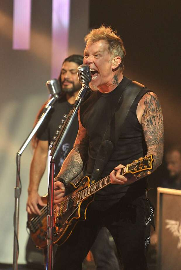 Metallica's James Hetfield performs on 'Later with Jools Holland' in Britain. Photo: Andre Csillag / Rex Features, ASSOCIATED PRESS